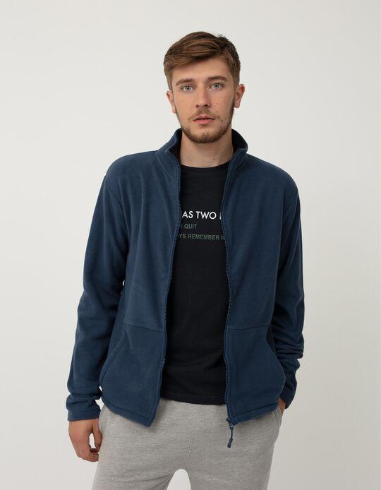 Polar Fleece Jacket, Men, Blue