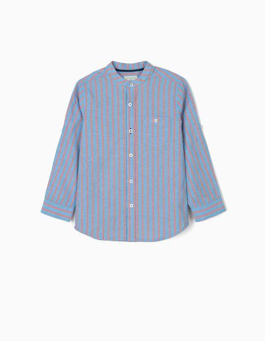 Camisa para Menino 'B&S' com Gola Mao, Azul