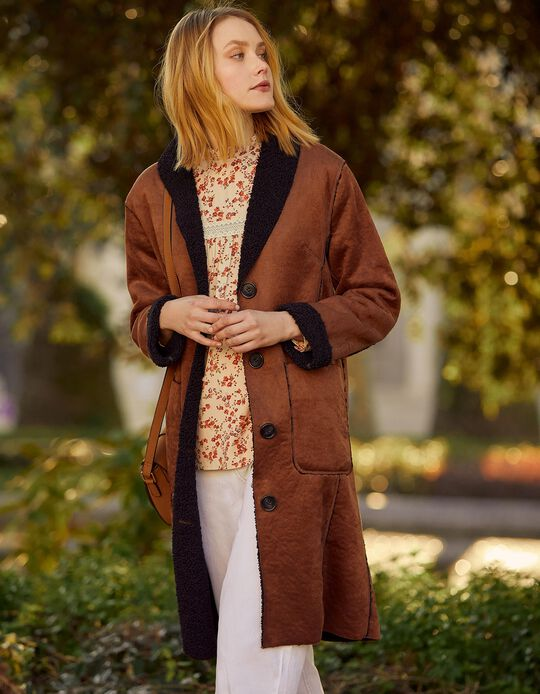 Long Jacket in Synthetic Leather, for Women
