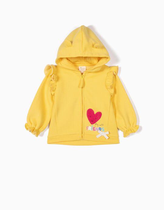 Hooded Fleece Jacket for Baby Girls 'Friends', Yellow