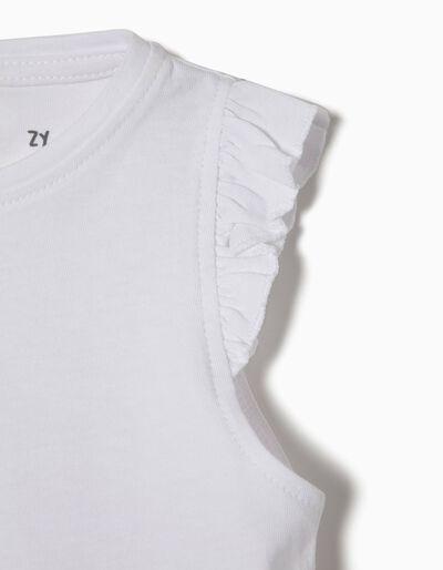T-shirt Algodão Folhos
