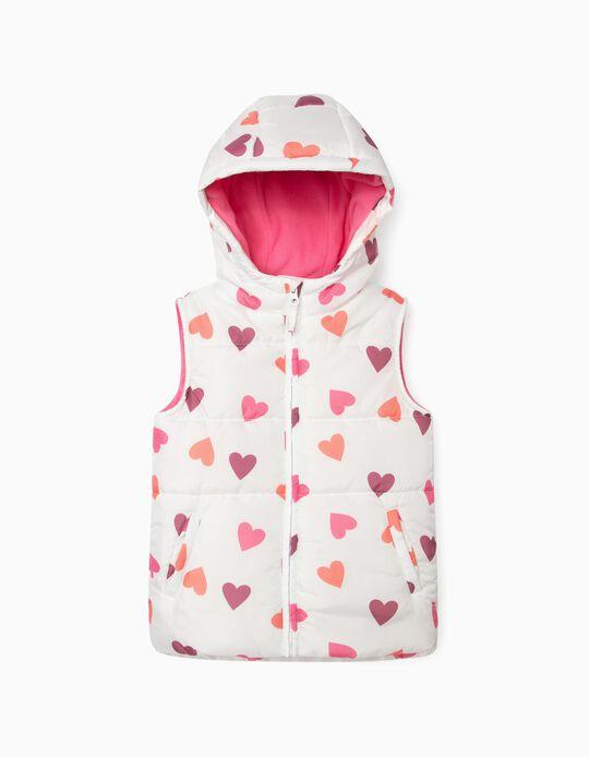 Padded Bodywarmer for Girls, 'Hearts', White