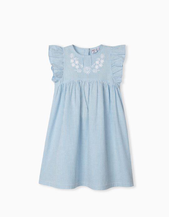 Vestido às Riscas, Menina, Azul