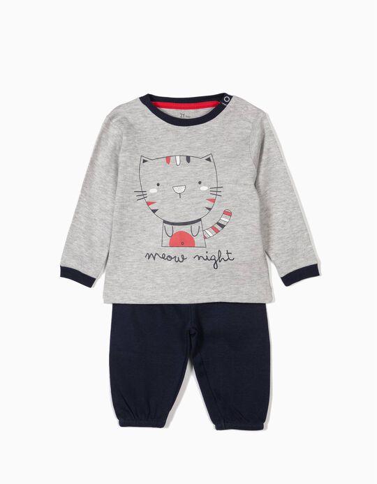 Pijama para Bebé Menino 'Meow Night', Cinza e Azul