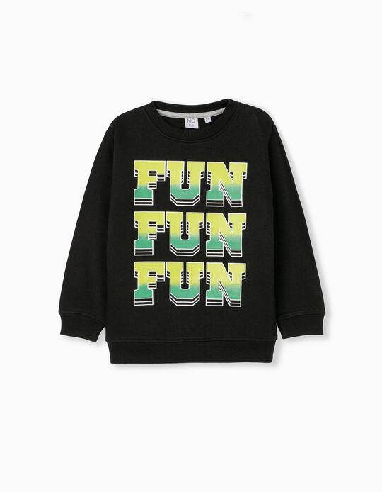 Carded Sweatshirt for Children, Black