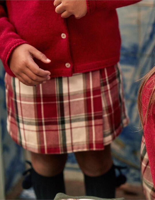 Saia-Calção Xadrez para Menina 'B&S', Vermelho/Branco