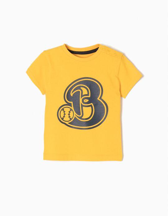 T-shirt Basebol Amarela