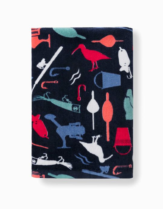 Printed Beach Towel for Boys, Dark Blue