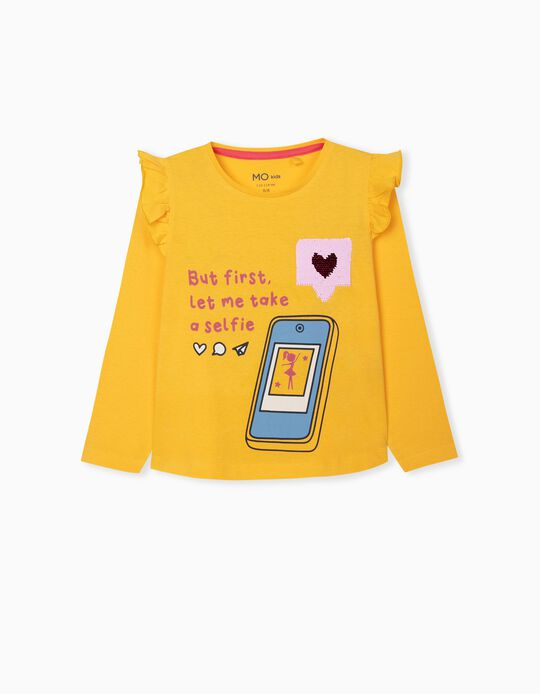Long Sleeve Top for Girls, Yellow