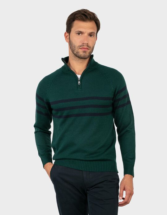 Stripy High Neck Jumper
