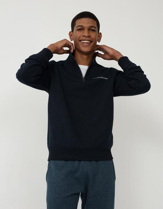 Sweatshirt with Zip on the Neck, Men, Dark Blue