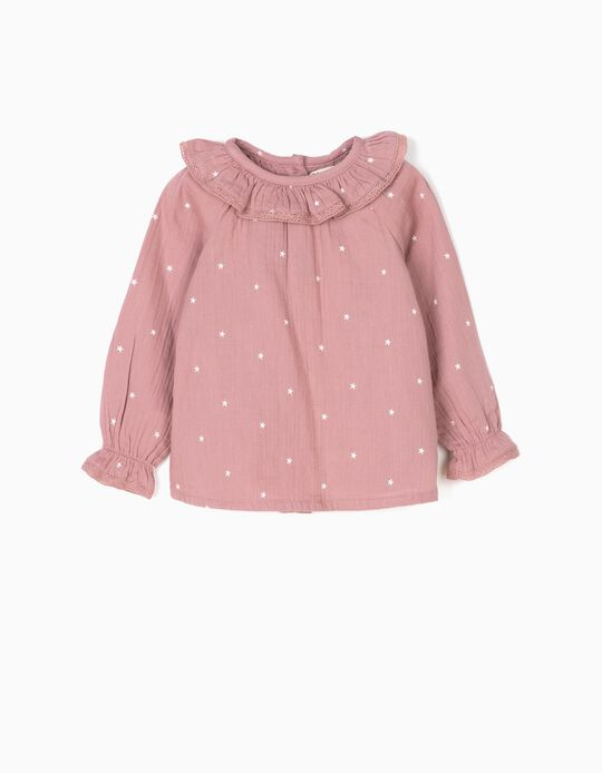 Bambula fabric blouse, pink with stars