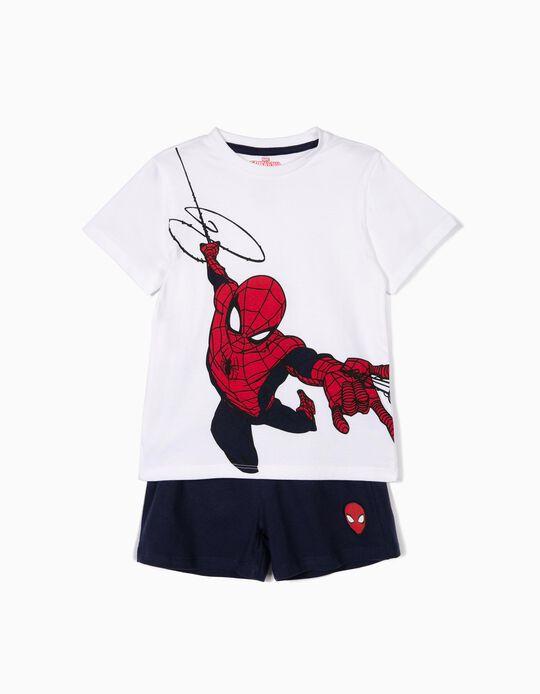Pijama para Menino 'Spider-Man', Branco e Azul Escuro
