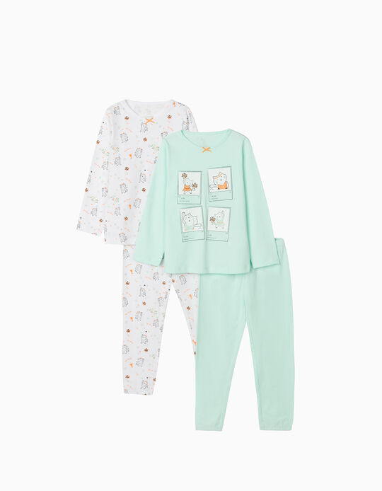 2 Pijamas Manga Comprida para Menina 'Sporty Cat', Branco/Verde Água