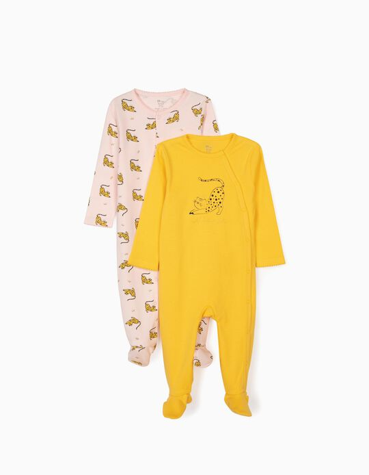 2 Sleepsuits for Baby Girls, 'Wild But Sweet', Yellow/Pink