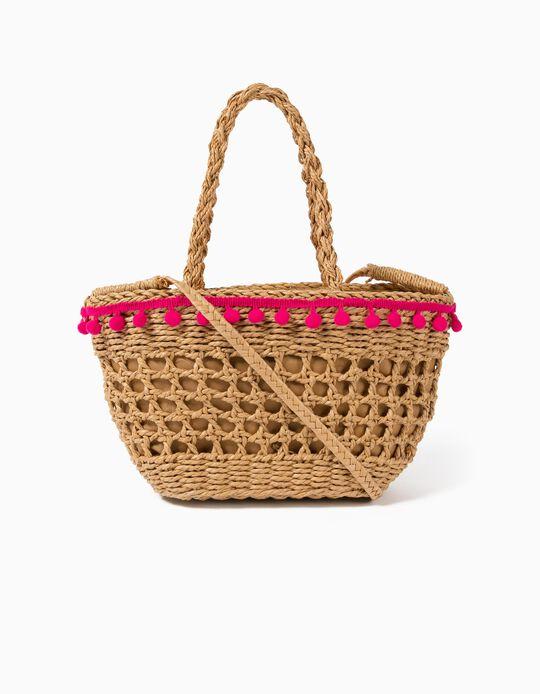 Straw Basket with Pompoms for Girls, Beige/Pink