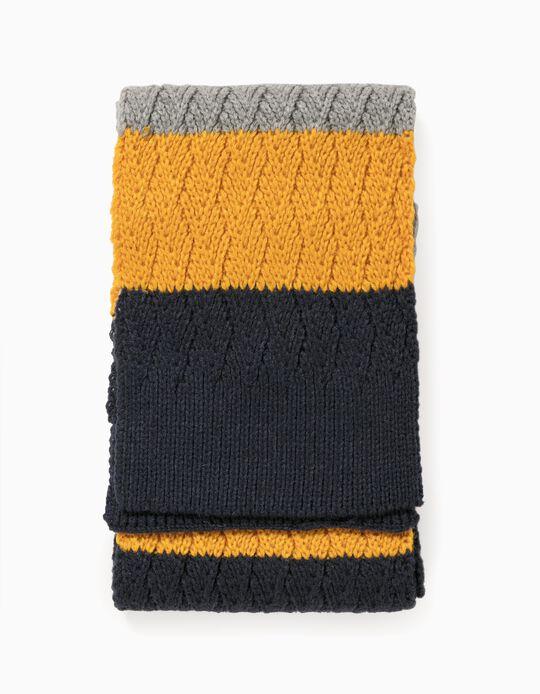 Cachecol Malha para Menino, Azul/Amarelo/Cinza
