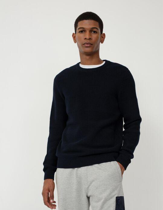 Camisola de Malha, Homem, Azul Escuro