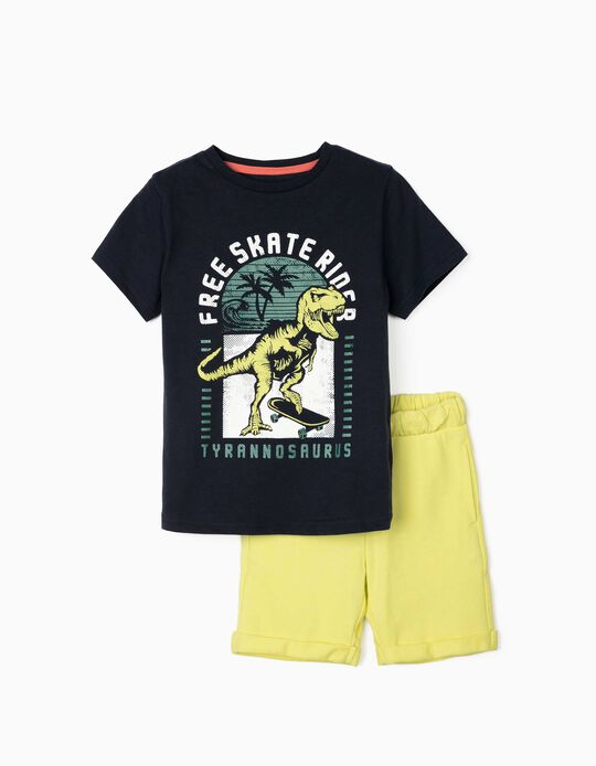 T-shirt and Shorts for Boys, 'Free Skateboard Rider', Blue/Lime Yellow