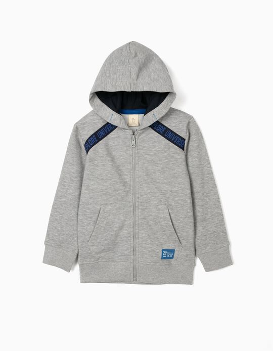 Hooded Jacket for Boys, 'Explore the Universe', Grey