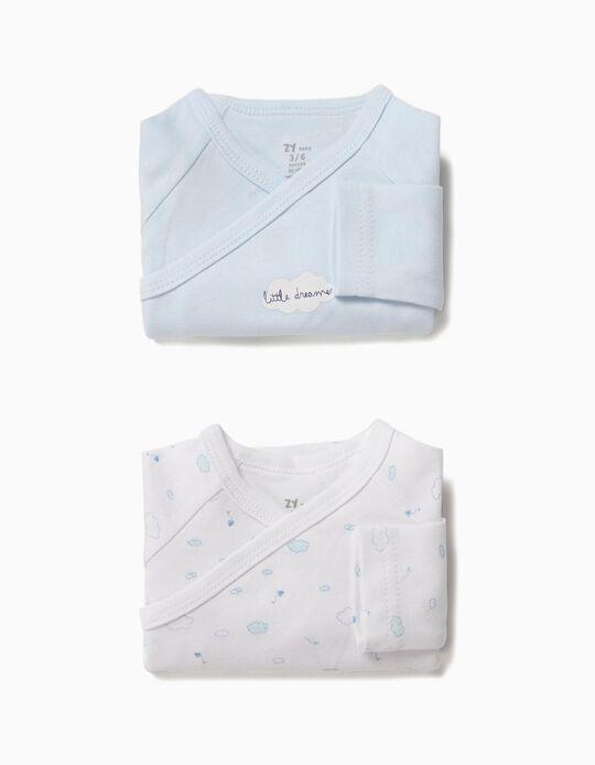 2 Bodies para Recém-Nascido 'Little Dreamer', Branco e Azul