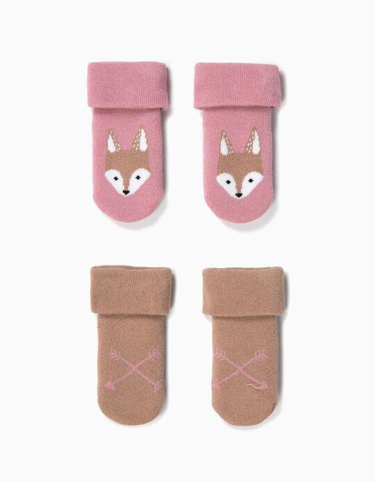 2-Pack Non-slip Socks for Baby Girls 'Fox', Blue/Brown