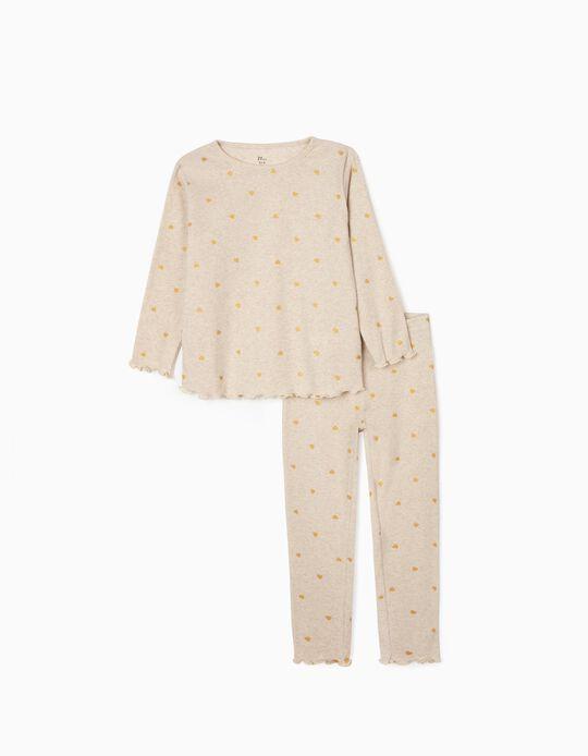 Rib Knit Pyjamas for Girls 'Hearts', Marl Beige