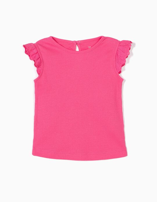 Ribbed Top with Ruffles for Baby Girls, Pink