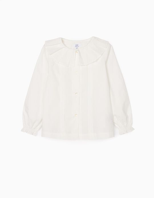 Pleated Shirt for Girls, White