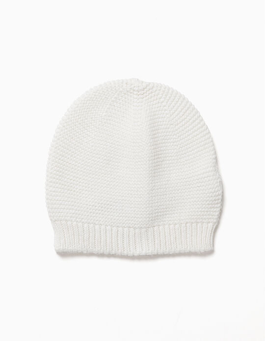 Knit Beanie for Newborn, White