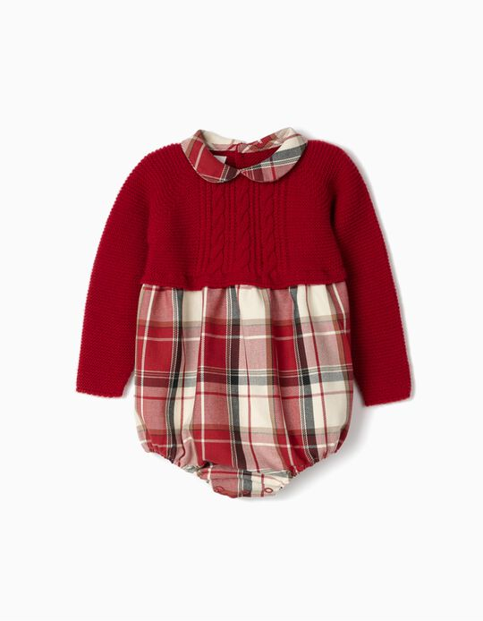 Contrasting Romper for Newborn Baby Girls, Red/Chequered