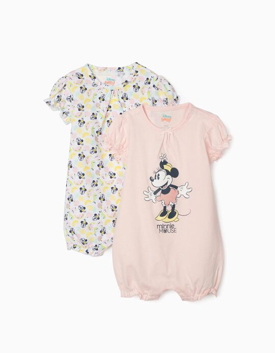 2 Sleepsuits for Baby Girls, 'Minnie Mouse', Pink/White