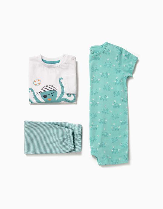 Pijama e Babygrow para Bebé Menino 'Octopus', Azul e Branco