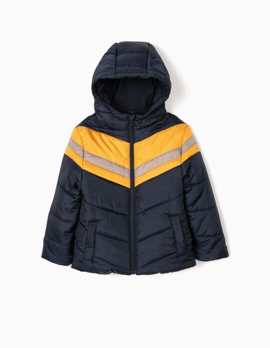 Padded Jacket with Contrasting Stripes