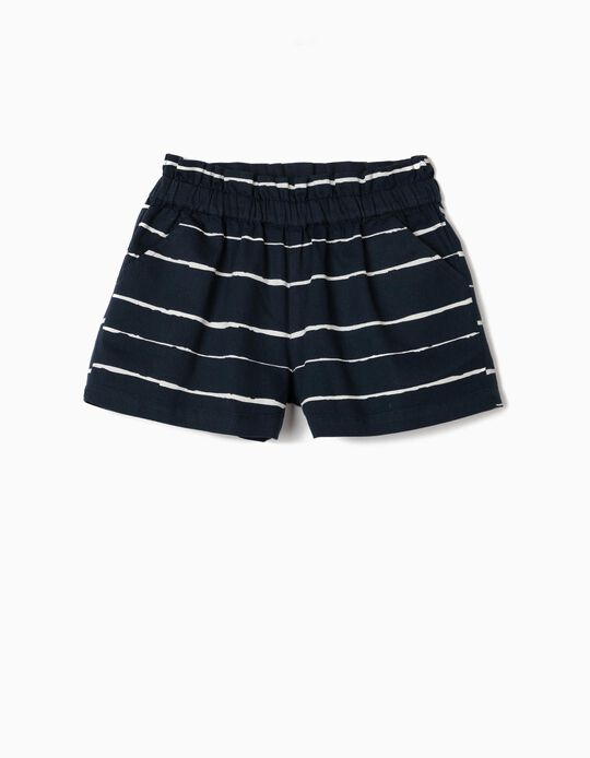 Cotton Shorts for Girls, Stripes