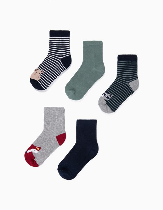 5-Pack Pairs of Socks for Boys 'Strips & Animals', Multicolour