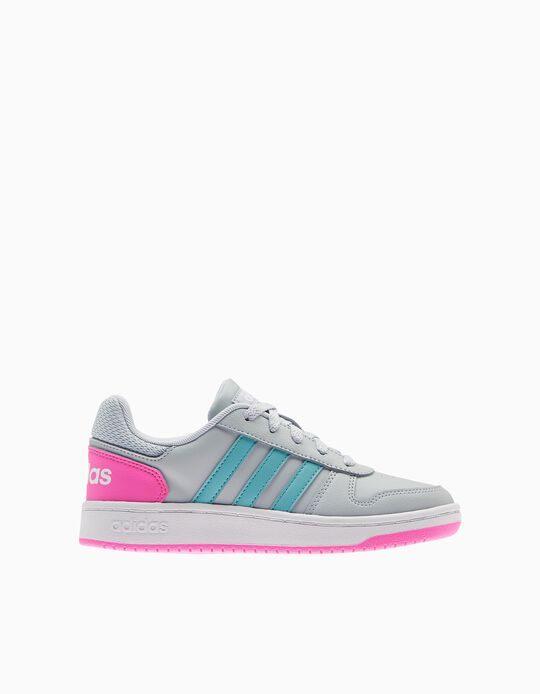 Adidas Hoops 2.0 Trainers, Girls, Grey/ Pink
