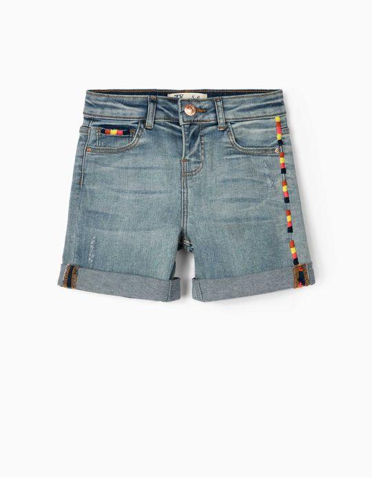 Embroidered Denim Shorts for Girls, Blue