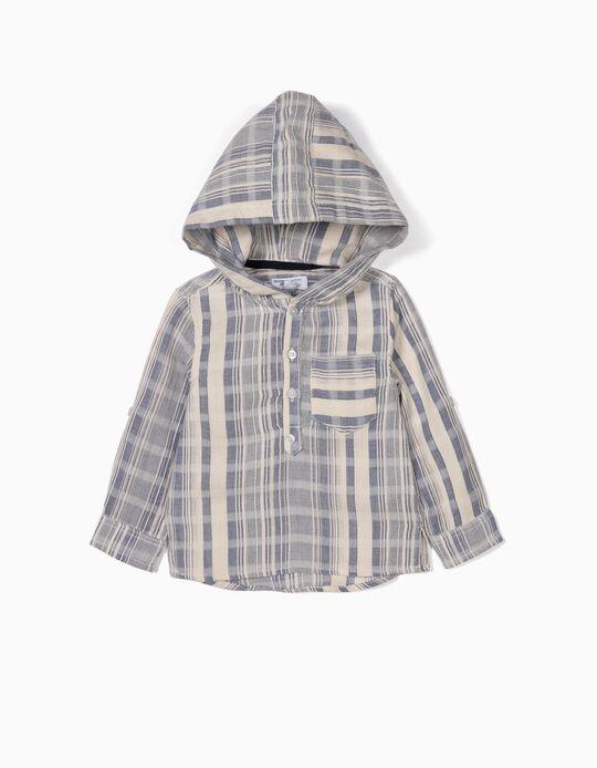 Camisa com Capuz para Bebé Menino 'B&S' Riscas, Azul