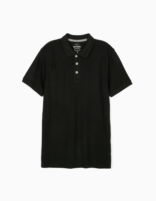 Piqué Polo Shirt, Black