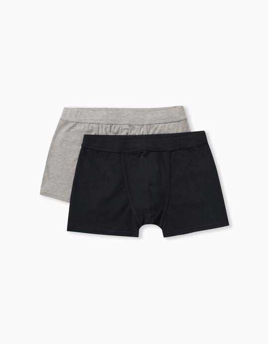 2 Pairs of Plain Boxer Shorts for Men, Grey/ Dark Blue