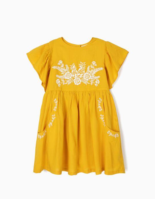 Vestido para Menina com Bordados, Amarelo