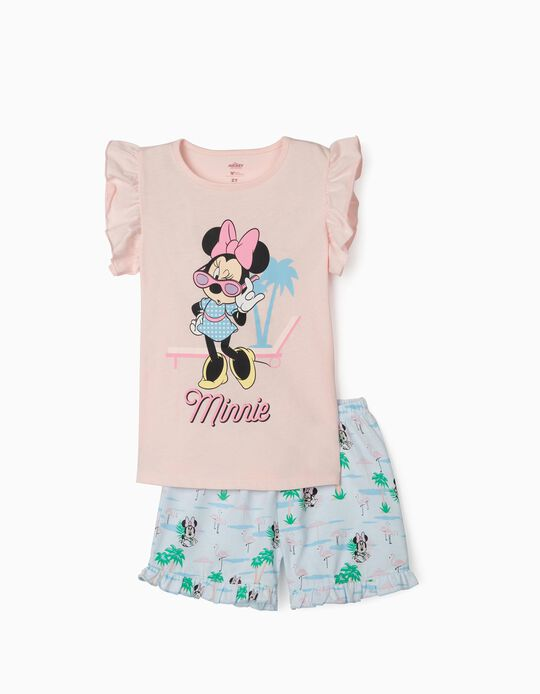 Short Sleeve Pyjamas for Girls, 'Minnie', Pink/Blue
