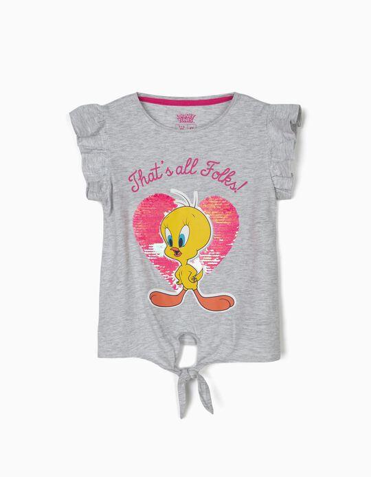 T-shirt para Menina 'Tweety' com Nó Frontal, Cinza