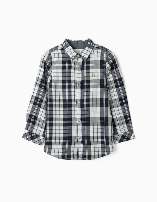 Plaid Shirt for Boys, Blue/White