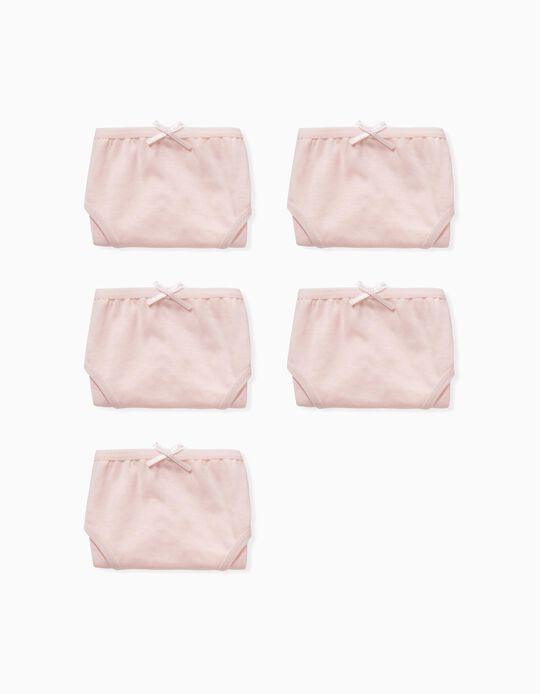 5 Pairs of Plain Briefs for Girls, Pink