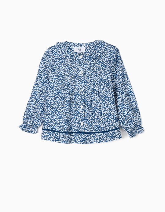 Blusa para Bebé Menina Flores, Azul