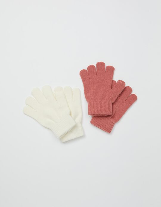 2 Knitted Gloves, Kids, White/ Pink