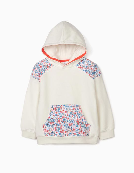 Hooded Sweatshirt for Girls, 'Flowers', White