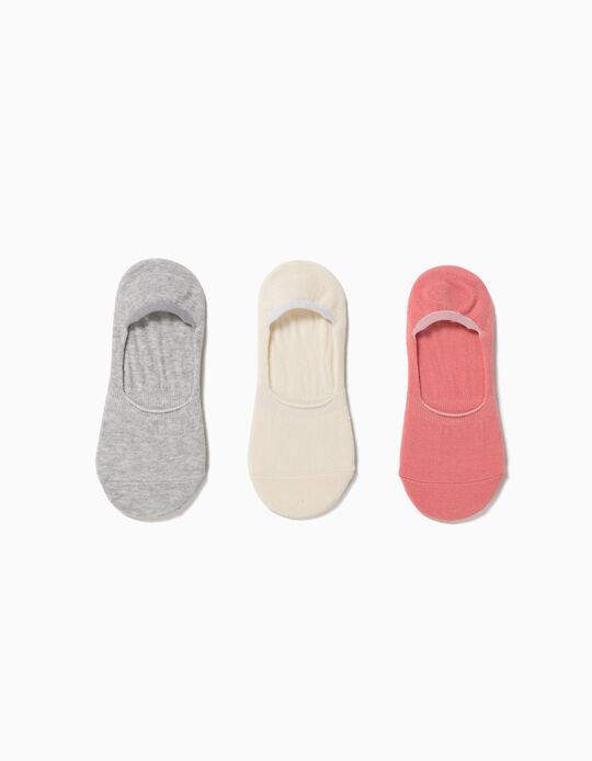 3 Pairs of No Show Socks, Organic Cotton